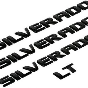 3D Raised and Strong Adhesive Decals Letters Badge emblem Nameplate Compatible for Silverado LT 1500 2500Hd 3500Hd - Gloss Black